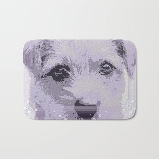 Curious little dog waiting for you - funny dog portrait Bath Mat