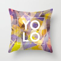 sayings Throw Pillows featuring Dreams of YOLO Vol.1 by HappyMelvin