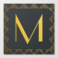 Art Deco Monogram - M Canvas Print