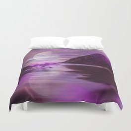 Full Moon over Calm Waters in purple Light Duvet Cover