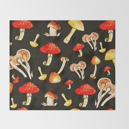 Brigt Mushrooms Throw Blanket