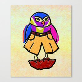 Colorful Owl in Trousers Canvas Print