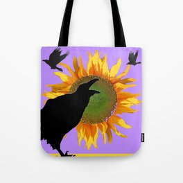 Crows-Lilac Sunflower  Floral Wildlife Art Tote Bag