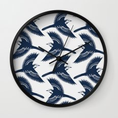 White Wagtails Pattern Wall Clock