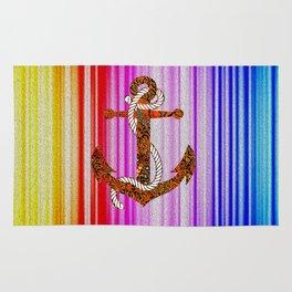 anchor of rainbow Rug