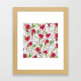 Pattern flowers & feathers Framed Art Print