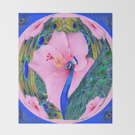BLUE PINK HIBISCUS FLOWERS & BLUE-GREEN PEACOCK Throw Blanket