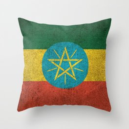 Old and Worn Distressed Vintage Flag of Ethiopia Throw Pillow