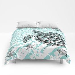 Sea turtle print in black and white Comforters