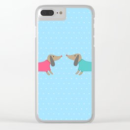Cute dogs in love with dots in blue background Clear iPhone Case