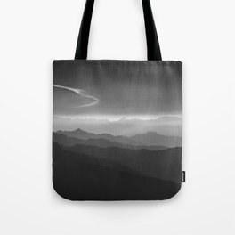Misty mountains. WB. Yesterday Tote Bag