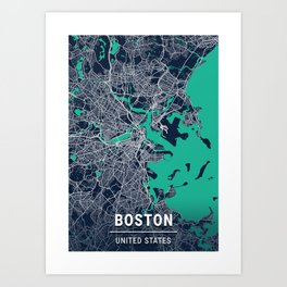 Boston Blue Dark Color City Map Art Print