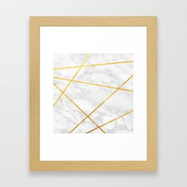 White Carrara marble with Gold Lines Framed Art Print