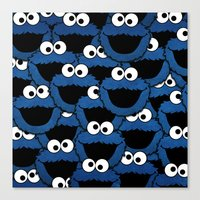 cookie monster Canvas Prints featuring Cookie Monster  by aldarwish