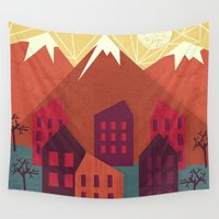 mountains Wall Tapestries featuring Mountains by Kakel