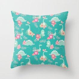 Floralsaur - Pink & Blue Throw Pillow