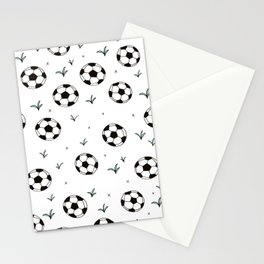 Fun grass and soccer ball sports illustration pattern Stationery Cards