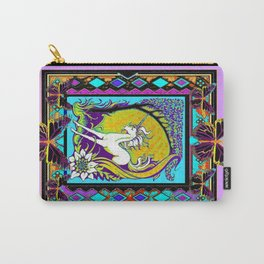 Nouveau Unicorn & Butterfly Western Abstract Design Carry-All Pouch