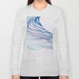 Etherial Wave - blue, mint and pale pink on white Long Sleeve T-shirt