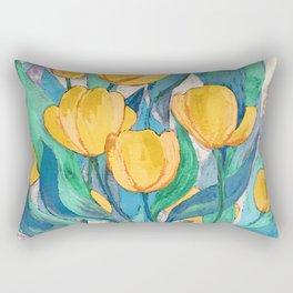 Blooming Golden Tulips in Gouache Rectangular Pillow