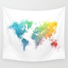 World Map splash 1 Wall Tapestry