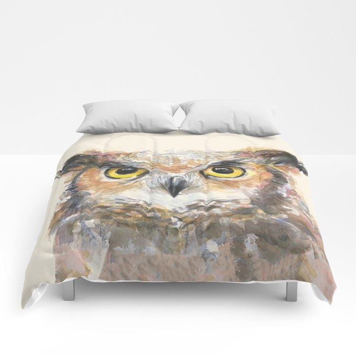 Owl Great Horned Owl Watercolor Comforters