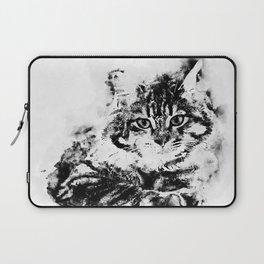 Watercolor Kitty Black&White Laptop Sleeve