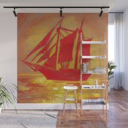 Red Sailboat in the sea At sunset Wall Mural