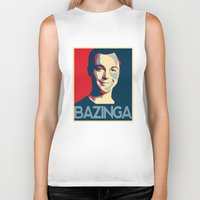 bazinga Biker Tanks featuring Bazinga Poster by JohnLucke