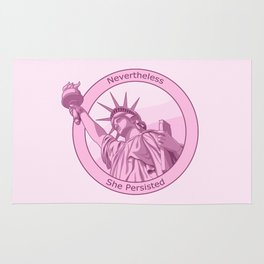 Nevertheless She Persisted Feminist Pink Lady Liberty Rug