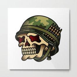 Vintage American War Skull Metal Print
