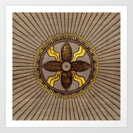 Seal of Shamash - Wood burned with gold accents Art Print