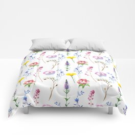 Hand painted watercolor lavender pink floral illustration Comforters