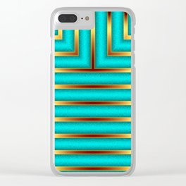 Art Deco Geometric Green and Gold Column Pattern Clear iPhone Case