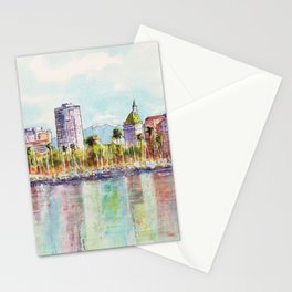 Long Beach Coastline Reflections Stationery Cards