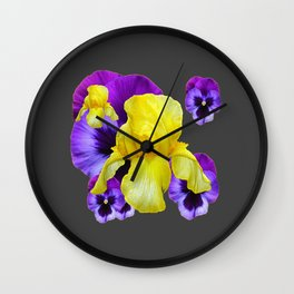 CHARCOAL GREY PURPLE PANSIES YELLOW IRIS ART Wall Clock