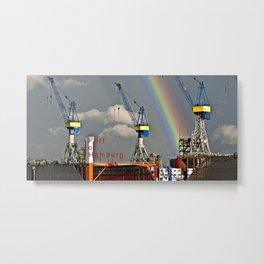 Rainbow over the port of HAMBURG Metal Print