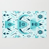 transformer Area & Throw Rugs featuring Triangle Alien Transformer Attack  by badbugs_art