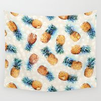 crystals Wall Tapestries featuring Pineapples + Crystals  by micklyn