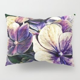 Hortensia flowers in vintage grunge watercoloring style Pillow Sham