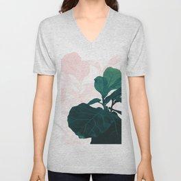 Blush Green Fiddle Leaf Dream #1 #tropical #decor #art #society6 Unisex V-Neck