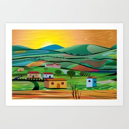 Sunset over Fields Art Print