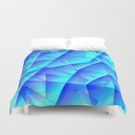 Abstract celestial pattern of blue and luminous plates of triangles and irregularly shaped lines. Duvet Cover