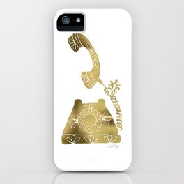 Vintage Rotary Phone – Gold Palette iPhone Case