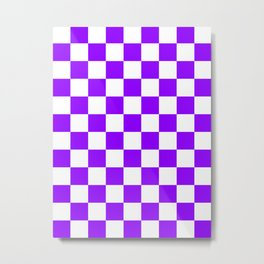 Checkered - White and Violet Metal Print