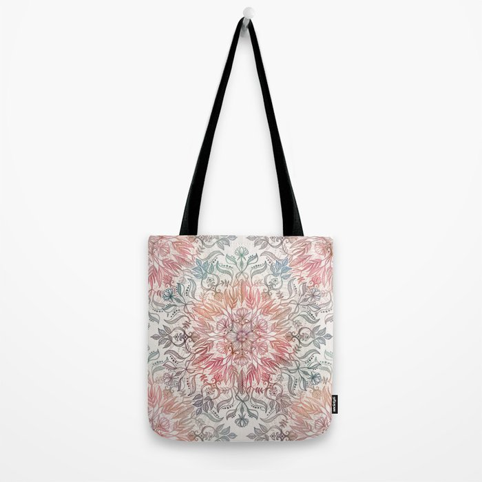 Autumn Spice Mandala in Coral, Cream and Rose Tote Bag