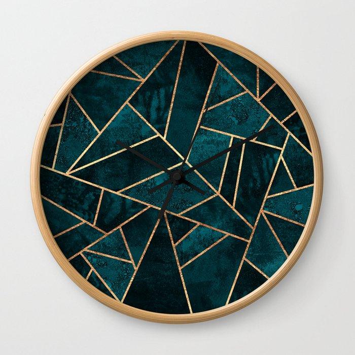 Deep Teal Stone Wall Clock