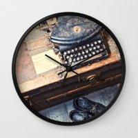 typewriter Wall Clocks featuring Typewriter by Shaun Lowe