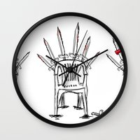 thrones Wall Clocks featuring The Plastic Thrones by Helena McGill