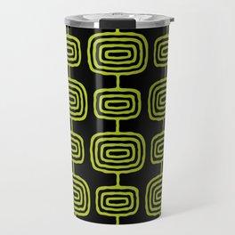 Mid Century Modern Atomic Rings Pattern Black and Chartreuse Travel Mug